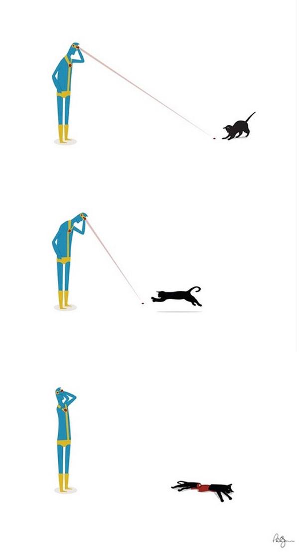 Cíclope no puede jugar con gatos
