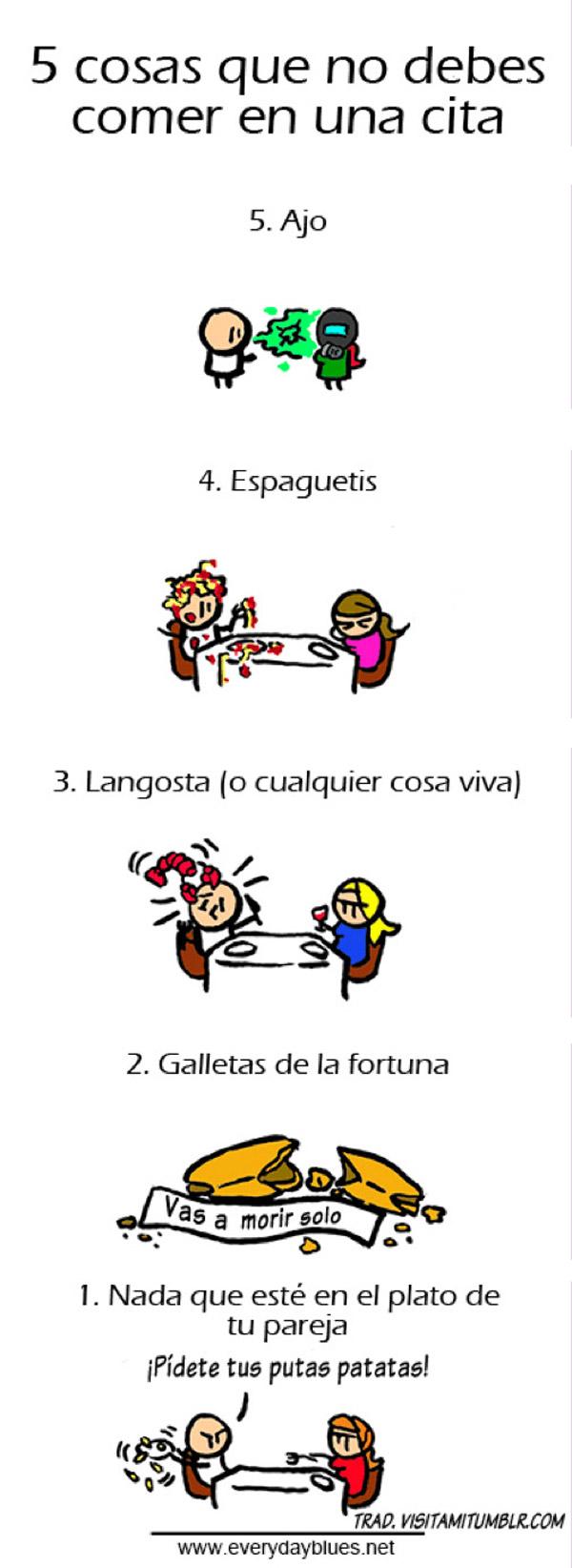 5 cosas que no debes comer en una cita
