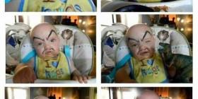 Bebé con cejas y bigote