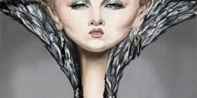 Caricatura de Charlize Theron como Reina Ravenna