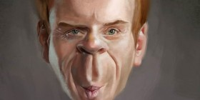 Caricatura de Damian Lewis en Homeland
