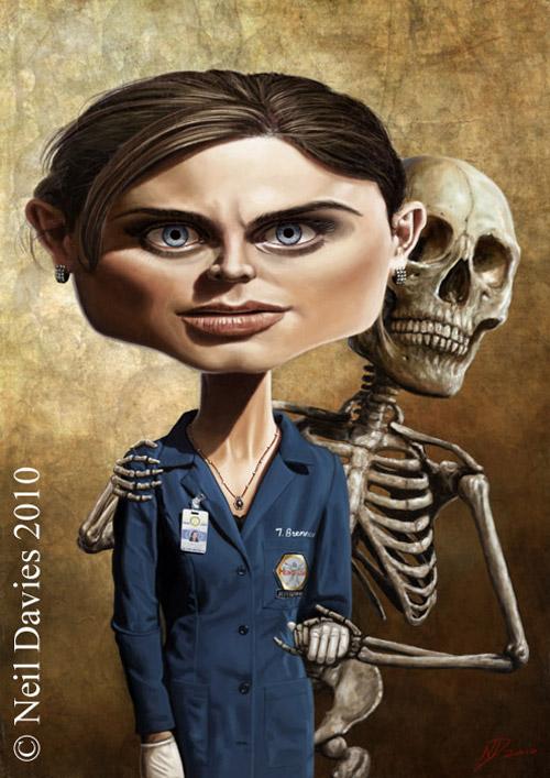 Caricatura de Emily Deschanel como
