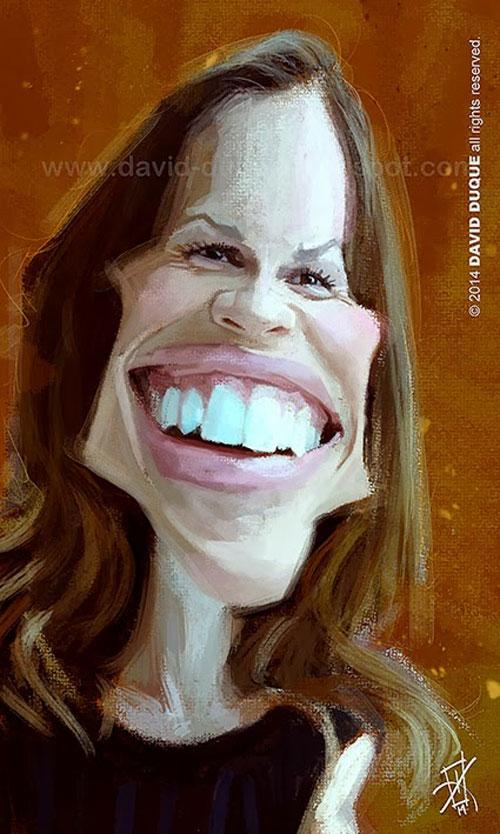 Caricatura de Hilary Swank