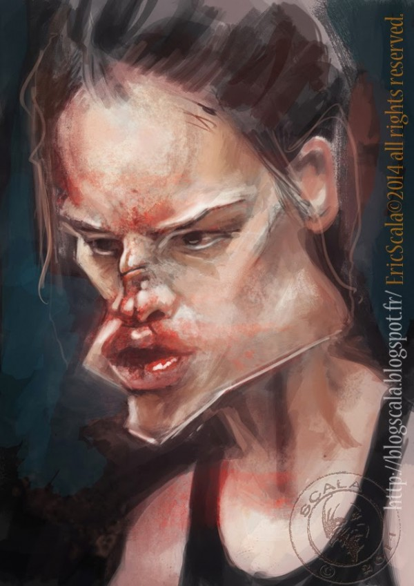 Caricatura de Hilary Swank en Million Dollar Baby