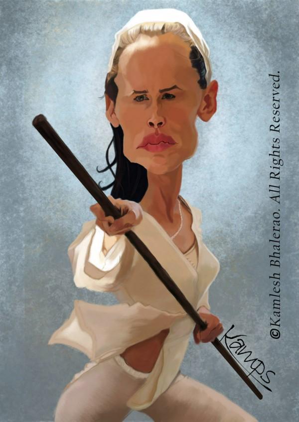 Caricatura de Jennifer Garner como Elektra