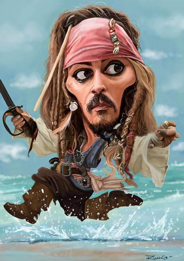 Caricatura de Johnny Depp como Jack Sparrow