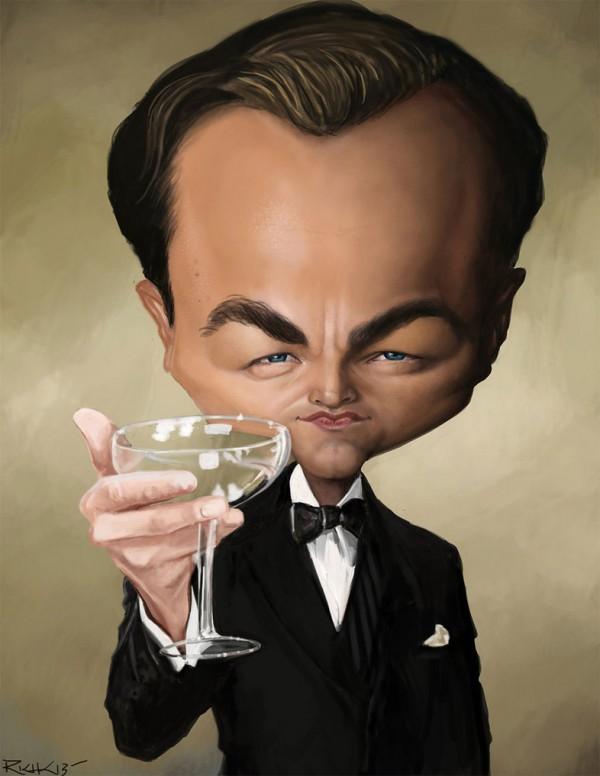 Caricatura de Leonardo DiCaprio como Jay Gatsby
