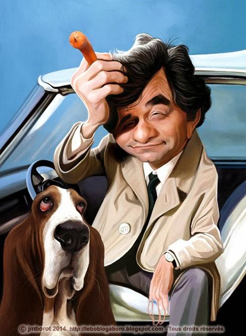 Caricatura de Peter Falk como Colombo
