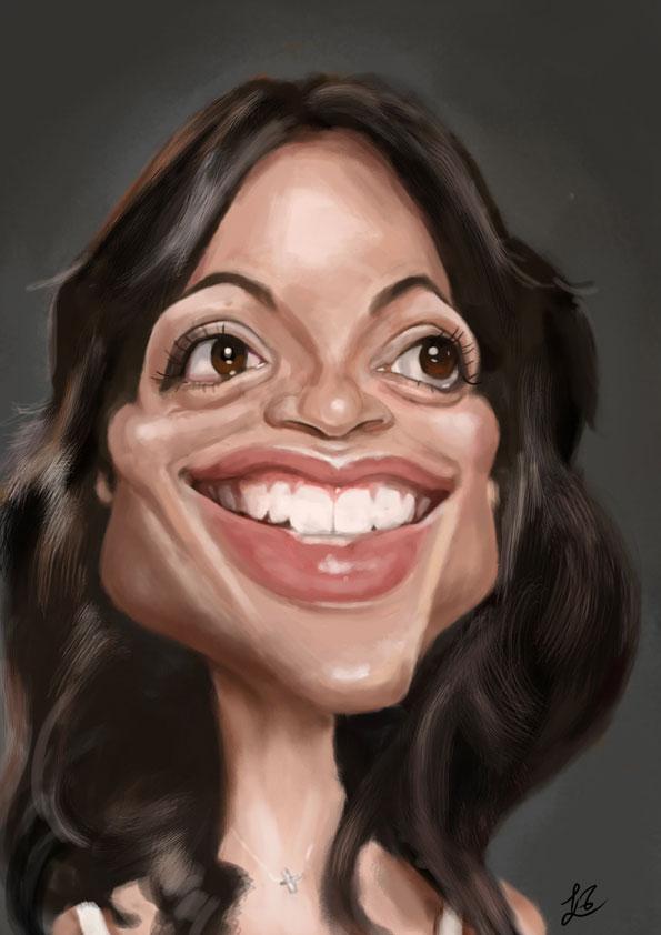 Caricatura de Rosario Dawson