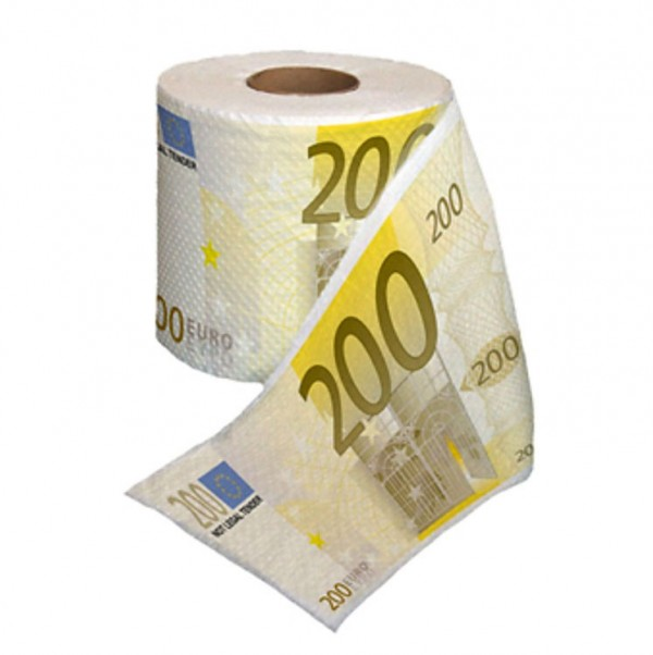 Papel Higiénico con Billetes de 200 Euros