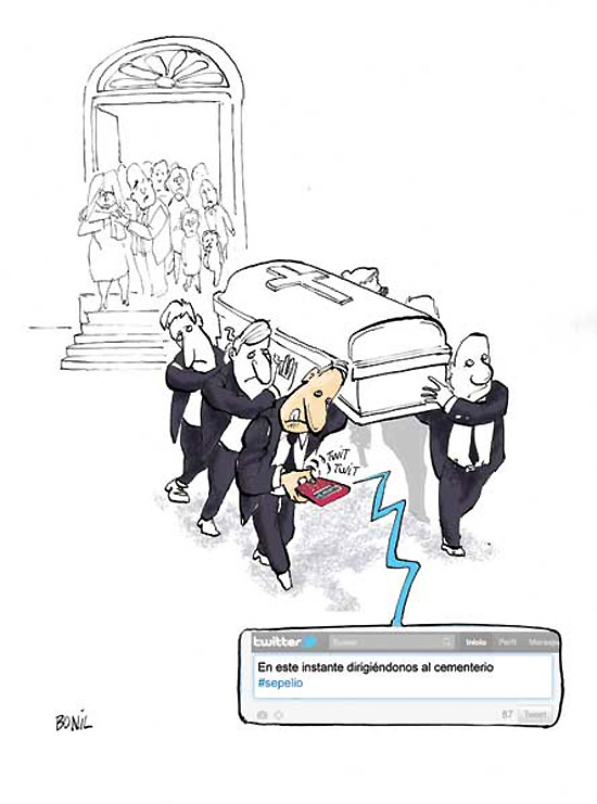 Tuiteando en el entierro