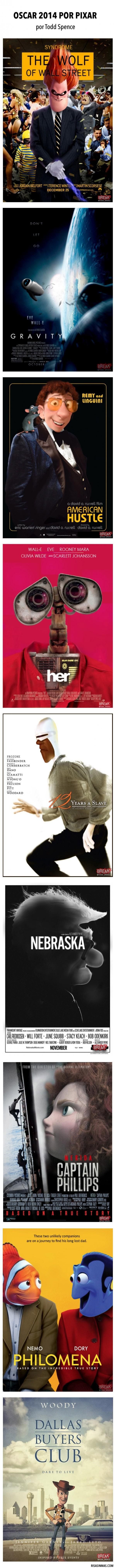 Carteles de películas de Oscar 2014 con personajes de Pixar