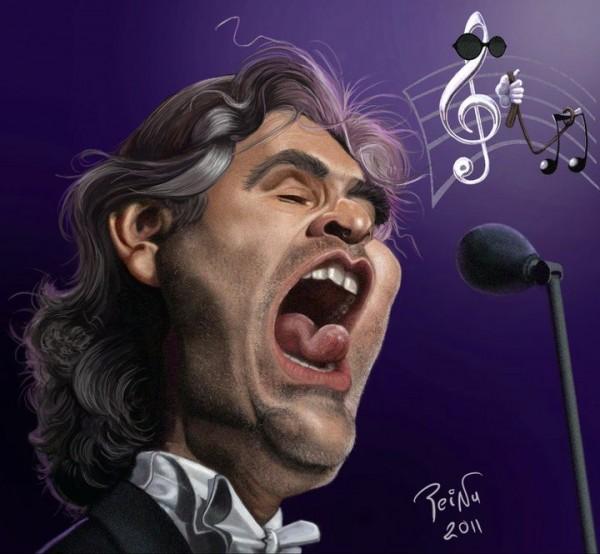 Caricatura de Andrea Bocelli