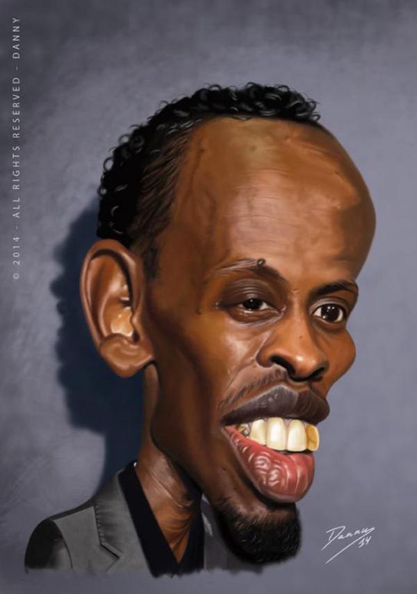 Caricatura de Barkhad Abdi