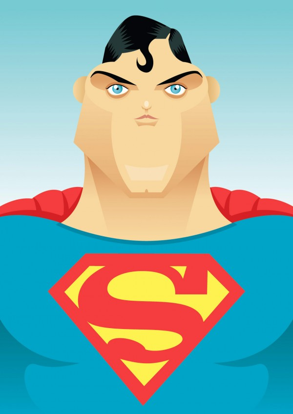 Caricatura de Christopher Reeve como Superman