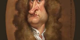 Caricatura de Isaac Newton