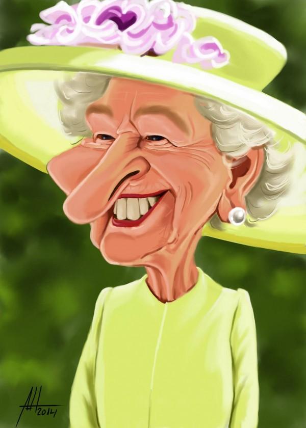 Caricatura de Isabel II del Reino Unido