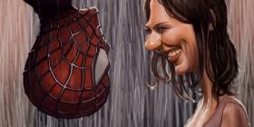 Caricatura de Kirsten Dunst en Spiderman