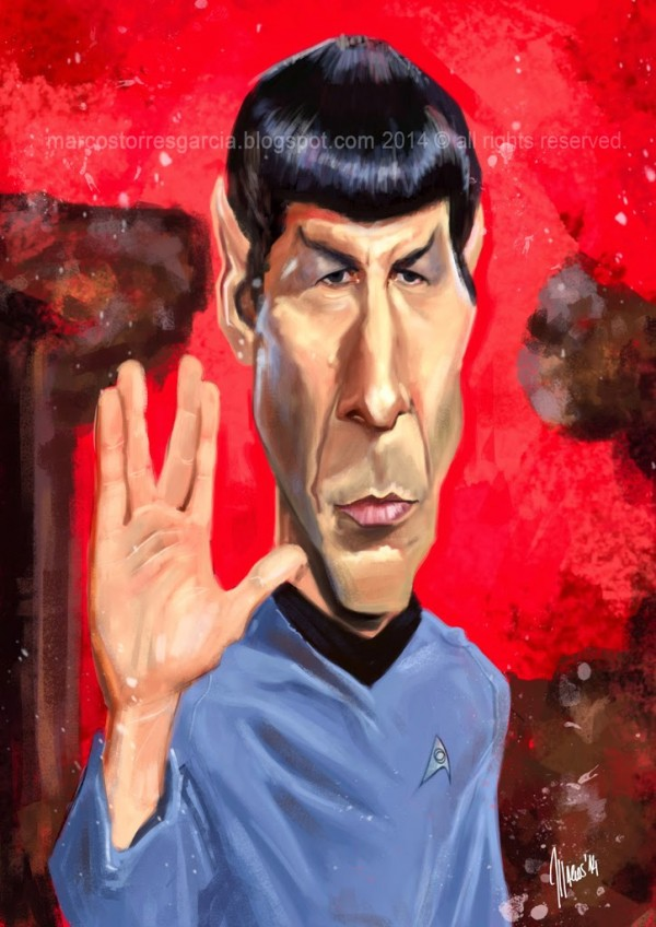 Caricatura de Leonard Nimoy como Spock