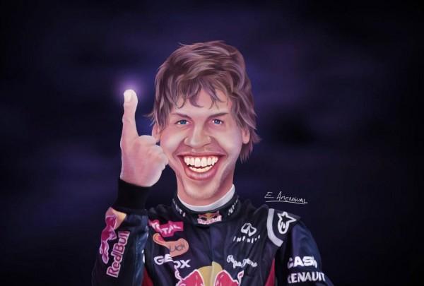 Caricatura de Sebastian Vettel