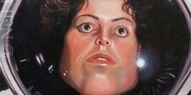 Caricatura de Sigourney Weaver como Ellen Ripley