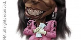 Caricatura de Whoopi Goldberg como Oda Mae Brown