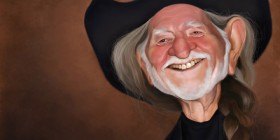 Caricatura de Willie Nelson