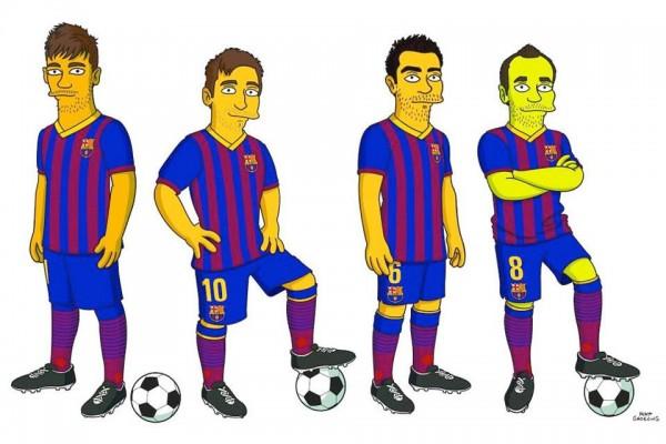 Jugadores del FC. Barcelona simpsonizados