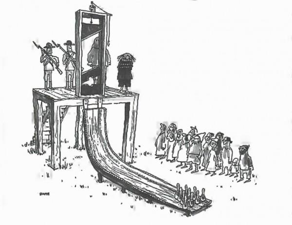 La guillotina y los bolos