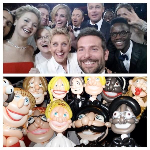 La selfie de los Oscar con globos