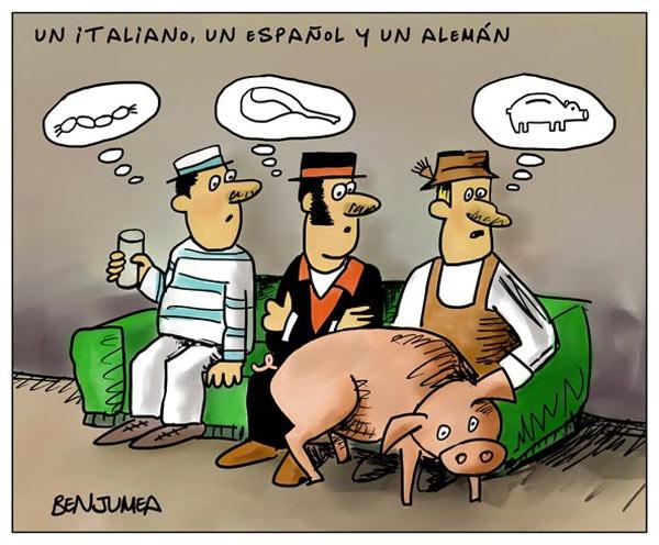 Un italiano, un español y un alemán