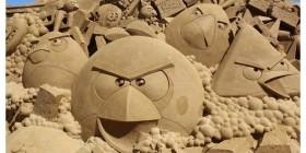 Angry Birds hechos con arena