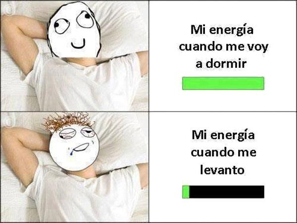 Mi energía cuando me voy a dormir