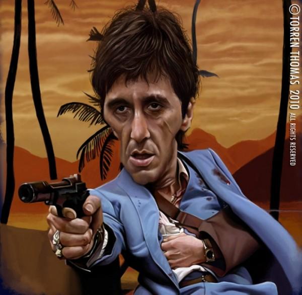 Caricatura de Al Pacino en Scarface