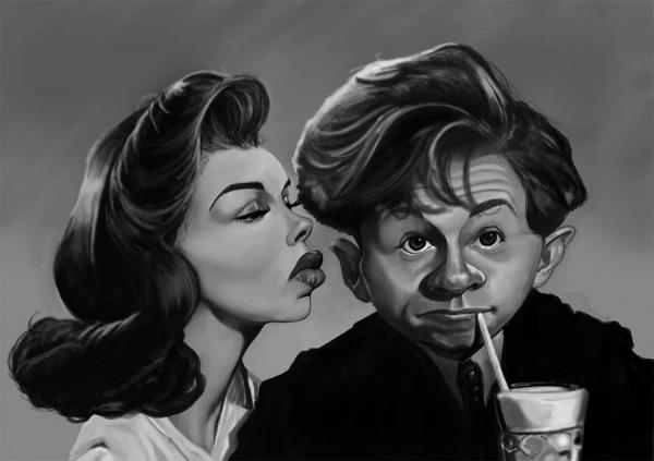 Caricatura de Ava Gardner y Mickey Rooney