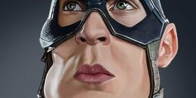 Caricatura de Chris Evans como Capitán América