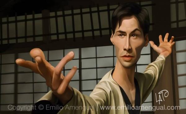 Caricatura de Neo en Matrix