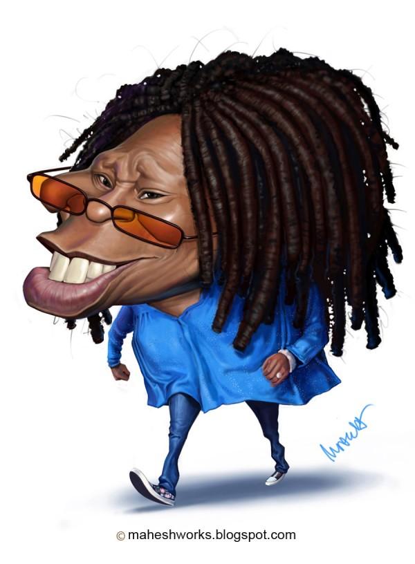 Caricatura de Whoopi Goldberg