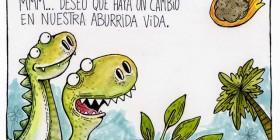 Dinosaurio pidiendo un deseo