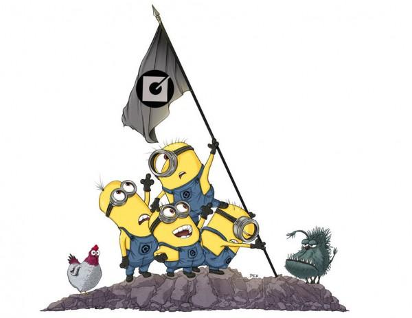 Parodias Minions: Alzando la bandera en Iwo Jima