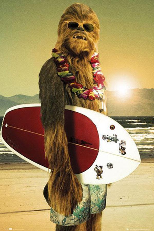 Póster de Chewbacca surfista