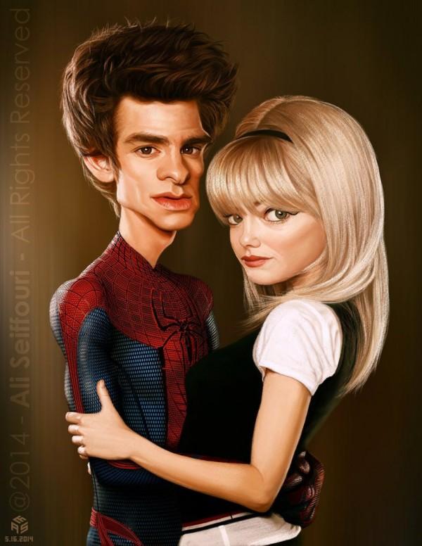 Caricatura de Andrew Garfield y Emma Stone