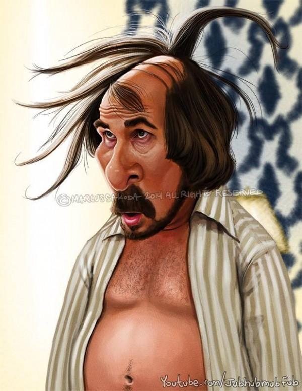 Caricatura de Christian Bale en La gran estafa americana
