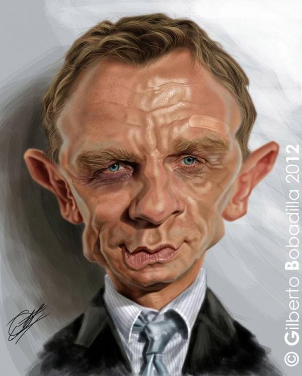 Caricatura de Daniel Craig como James Bond