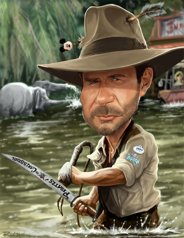 Caricatura de Indiana Jones (Harrison Ford)
