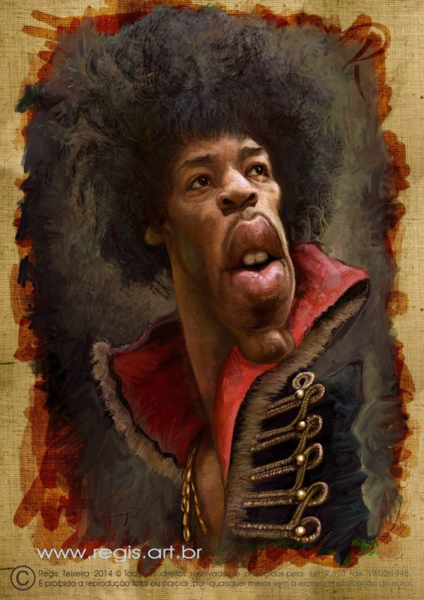 Caricatura de Jimi Hendrix