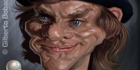 Caricatura de Malcolm McDowell en La naranja mecánica