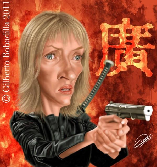 Caricatura de Uma Thurman en Kill Bill