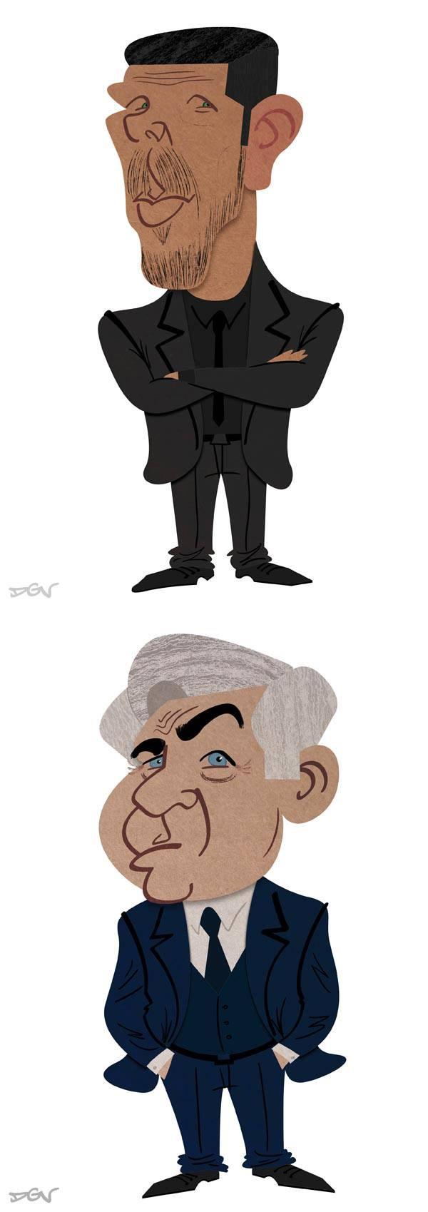 Caricaturas de Diego Pablo Simeone y Carlo Ancelotti