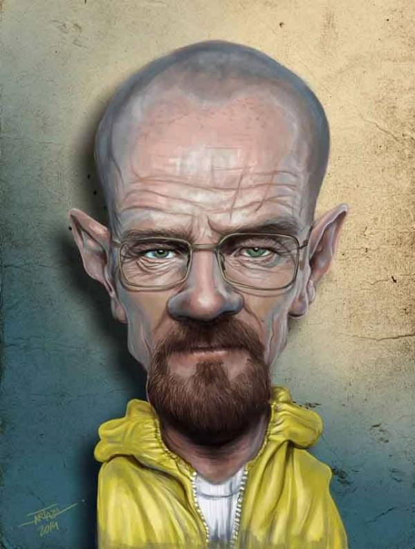 Caricatura de Bryan Cranston como Walter White
